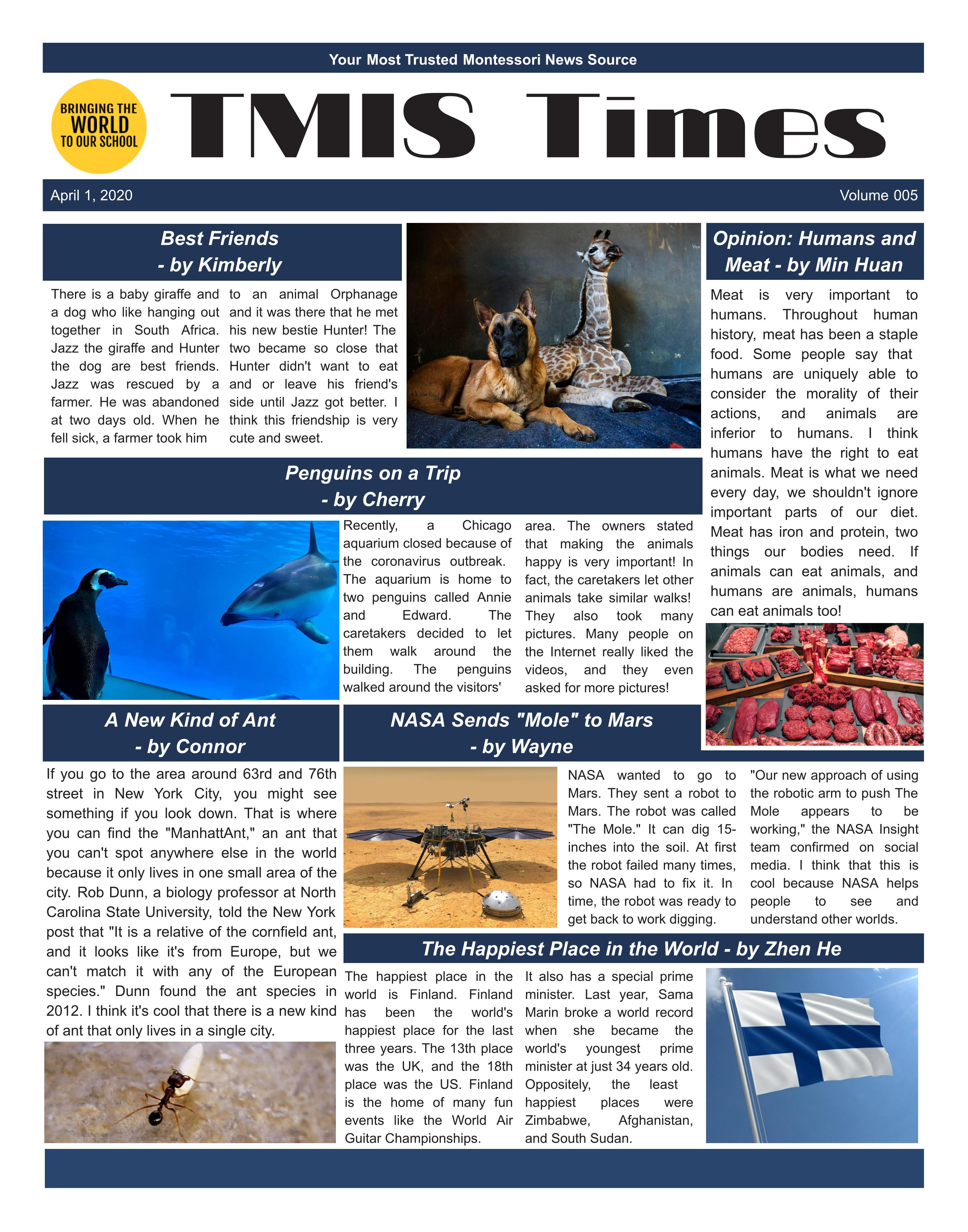 2020.4.24 – Newspaper of the school